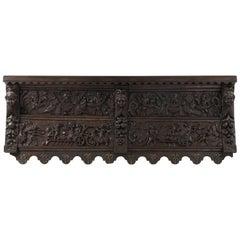 Carved Oak Shelf with Harvest Imagery