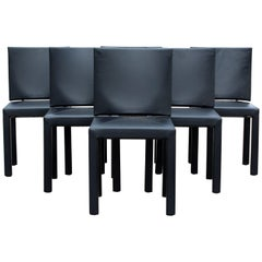 Contemporary Modern Paolo Piva B&B Italia Set of Six Black Leather Dining Chairs