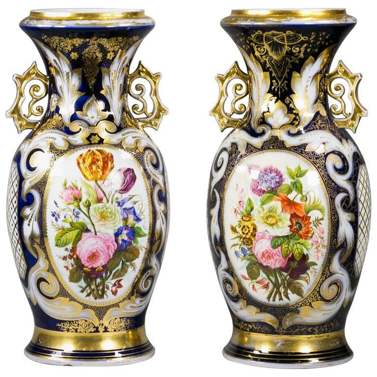 Pair of Paris Porcelain Two Handled Vases, circa 1840