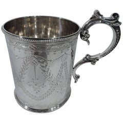 Antique English Victorian Neoclassical Sterling Silver Baby Cup