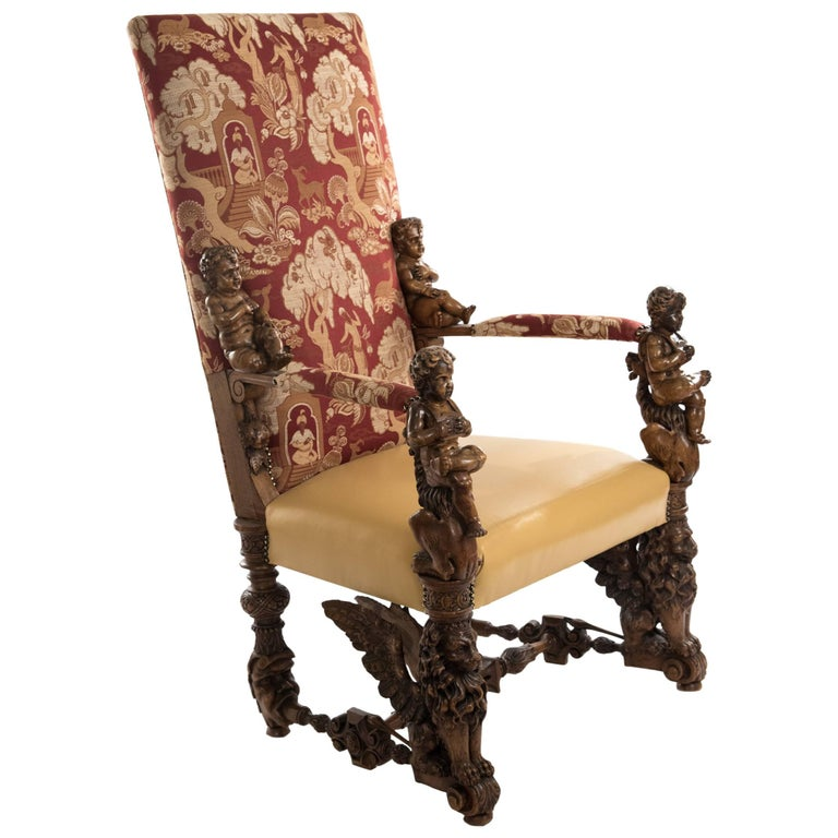Italian Baroque Style Carved Walnut Throne Armchair