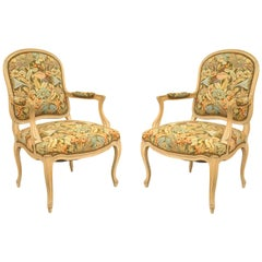 Pair of French Louis XV Style '20th Century' Bleached Open Armchairs