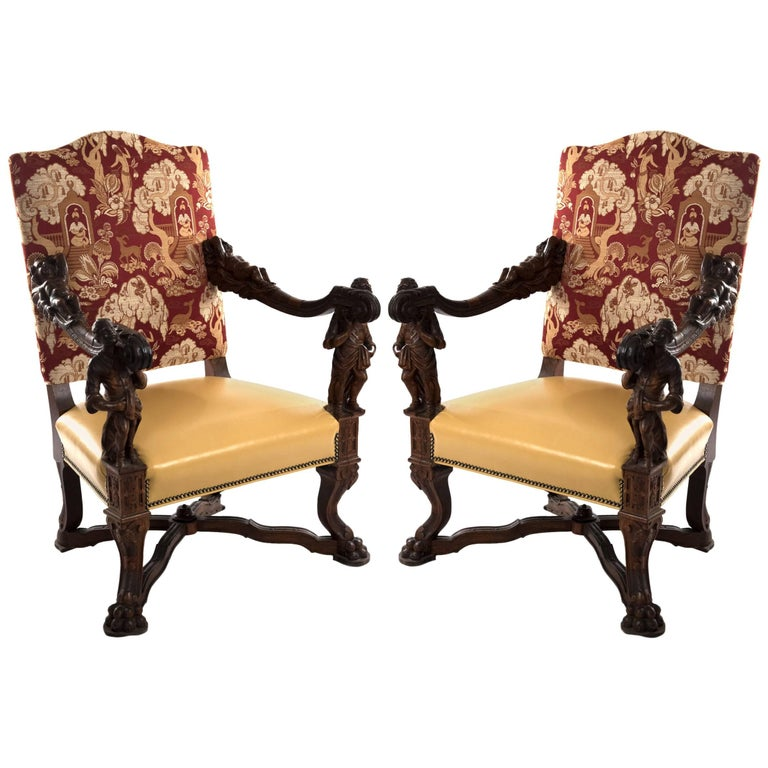 Italian Baroque-Style Walnut Carved Armchairs after Andrea Brustolon