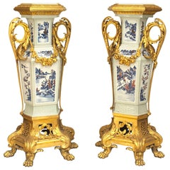 Pair of French Louis XV Style Pedestals, 19th Century
