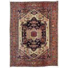 Antique European Hook Rug in Traditional Persian Serapi Design