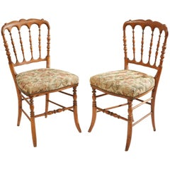 19th Century Pair of Carved Walnut Chairs from France