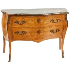 Magnificent 19th Century Marble-Top Bombe Commode from France