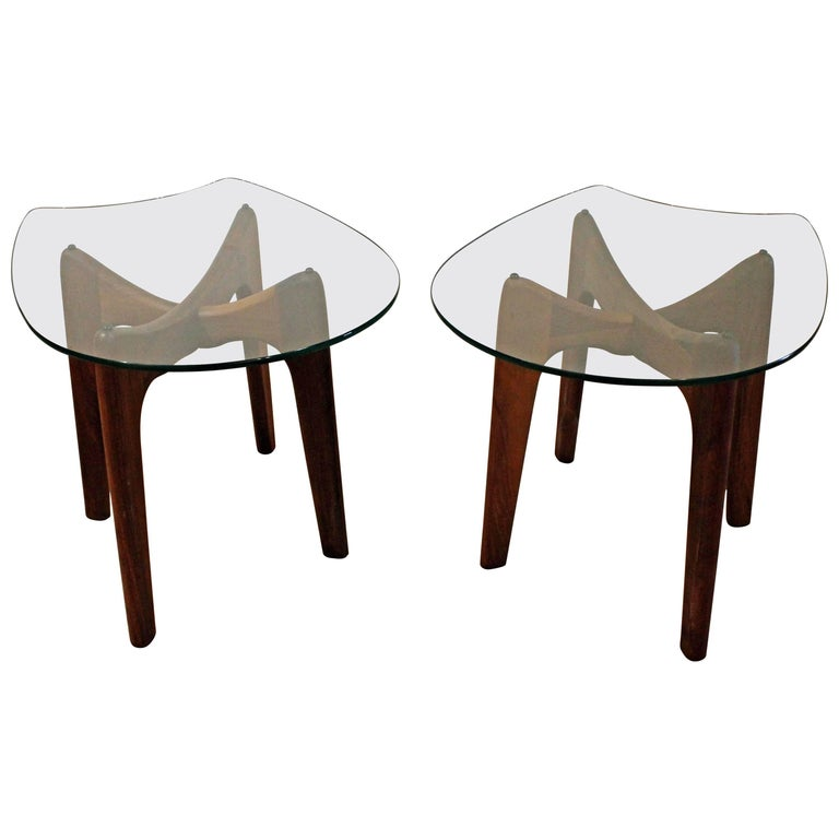 """Pair of Mid-Century Modern Adrian Pearsall """"Stingray"""" End Tables 2397TE"""