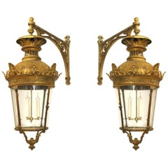Pair of French Victorian Bronze Four Sided Bent Glass Paneled Lanterns