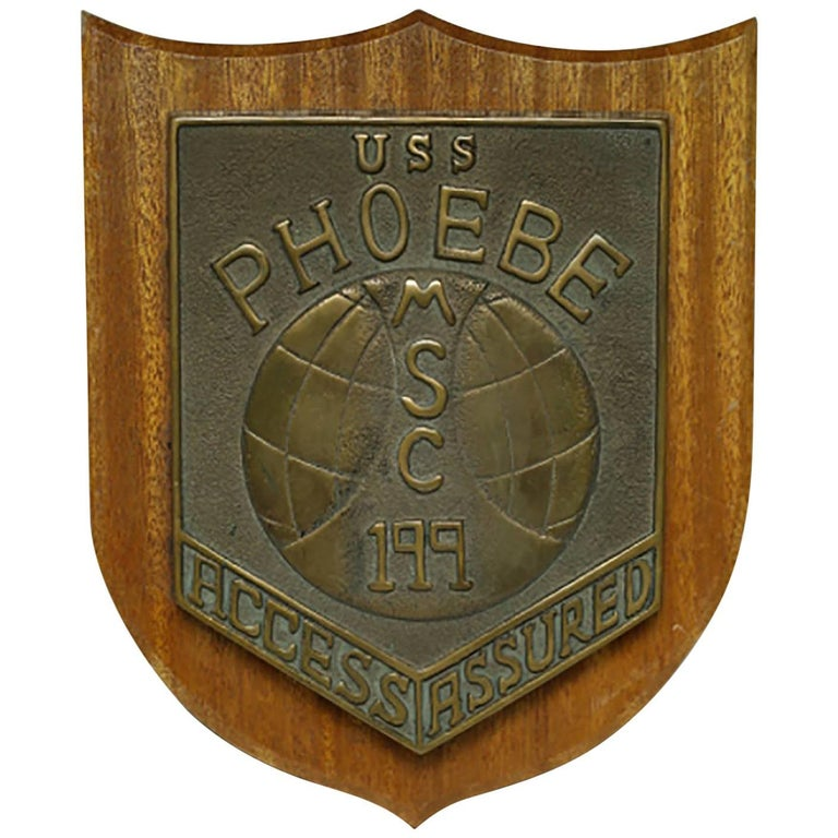 Midcentury Solid Bronze Mine Sweeper Ship Plaque, circa 1950s