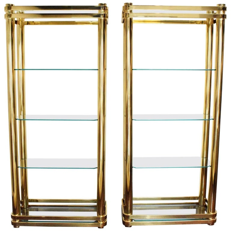 Pair of Brass Finish Etageres Attributed to Mastercraft
