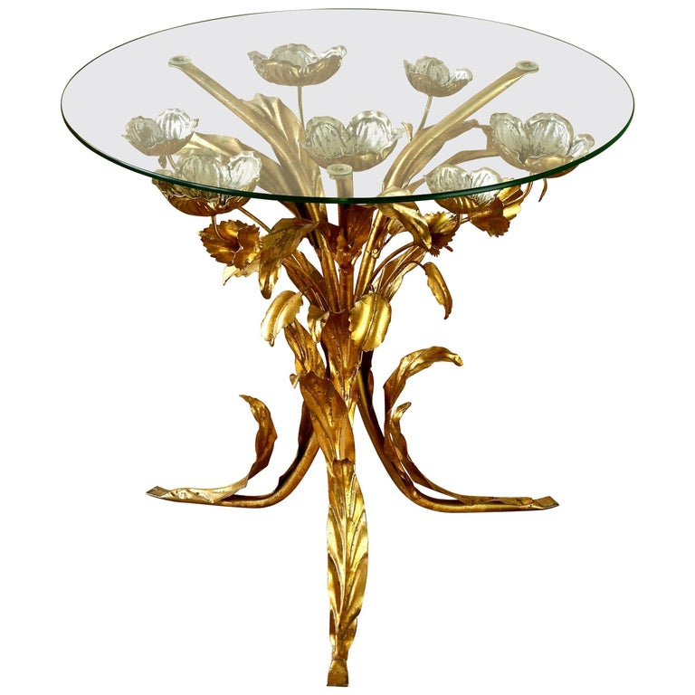 Mid-Century Hollywood Regency Gilt Metal Leaf and Flower Side Table by Hans Kögl