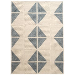 Natural Woven Wool Rug in Blue & Cream Custom Crafted in the USA, Sketch Design