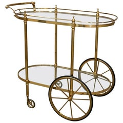 Midcentury French Brass Bar Cart