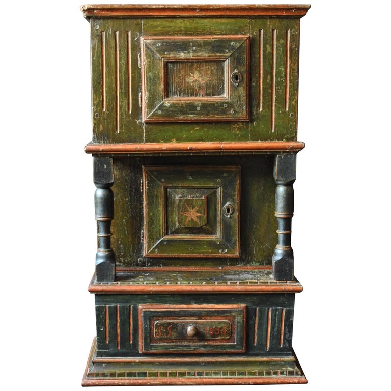 Antique Scandinavian Folk Art Painted Gustavian Cabinet, 1806