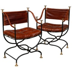 1950s Italian Leather and Iron Campaign Chairs with Brass Finials