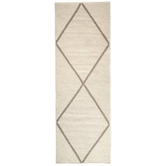 Natural Woven Wool Runner Rug in Grey, Reversible, Custom Crafted in USA, Form