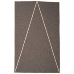 Natural Woven Wool 'Point' Rug in Dark Grey, Reversible, Custom Made in the USA