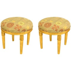Pair of French Art Deco Gilt Round Low Stools