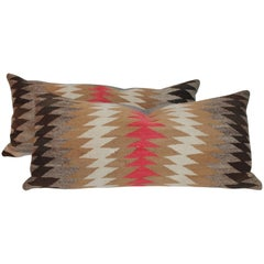 Pair of Navajo Indian Weaving Bolster Pillows