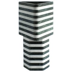 Triangular-Hexagonal Stacked Stone Vessel in Marble by Fort Standard, in Stock