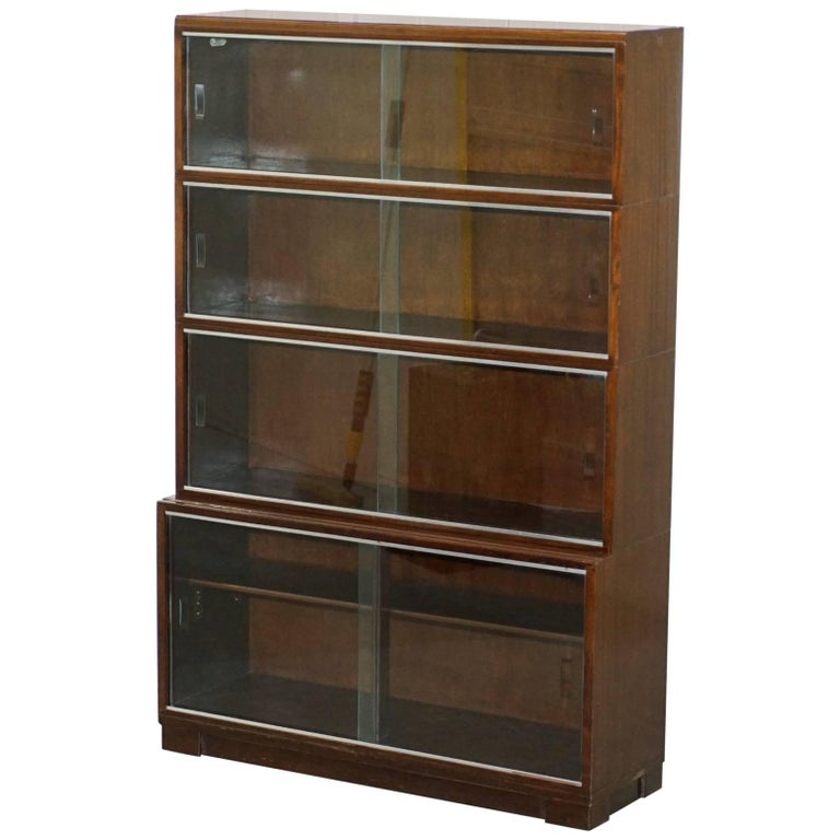 1950s mahogany modular minty oxford vintage stacking legal bookcase glass doors for sale - Bookshelves Glass Doors