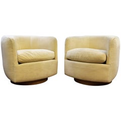 Mid-Century Modern Baughman Thayer Coggin Pair of Plinth Base Swivel Tub Chairs