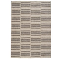 Natural Woven Wool Rug in Grey is Custom Crafted in the USA, Reversible, Path