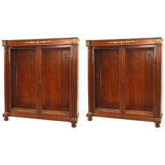 Pair of French Empire Style '19th Century' Mahogany and Bronze Trimmed Bookcases