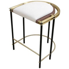 Frame Stool, Contemporary Handmade Brass and Walnut