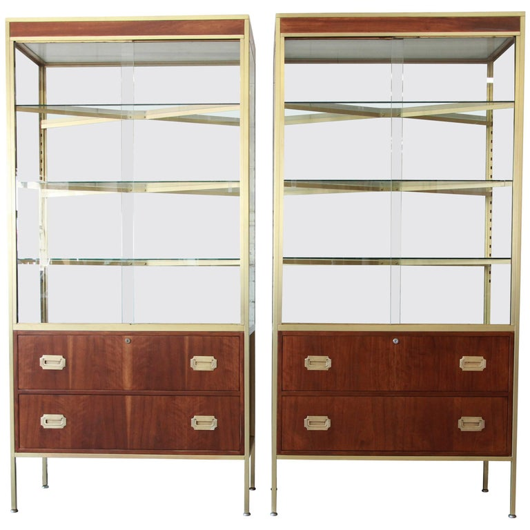Pair of Baker Furniture Hollywood Regency Campaign Style Display Cabinets