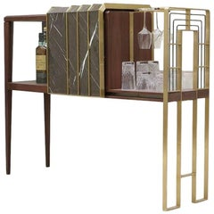 The Frame Bar, Contemporary  Handmade Marble and Brass Dry Bar