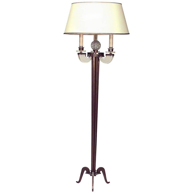 French 1940s Fluted Brass Column Floor Lamp