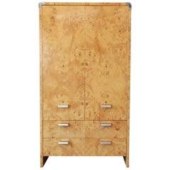 Leon Rosen for Pace Burled Olive Wood and Chrome Wardrobe Dresser