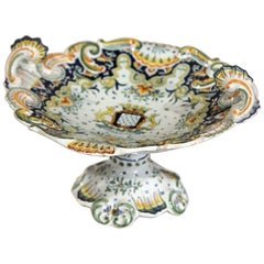 19th Century French Hand-Painted Ceramic Dish Vide-Poche from Normandy