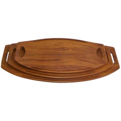 Three Early Jens Quistgaard Dansk Fjord Teak Trays Denmark