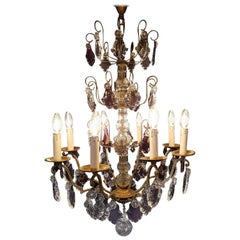 French Eight-Light Chandelier with Purple Crystals