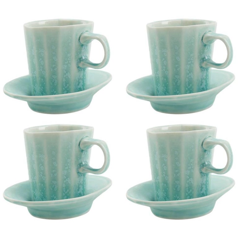 Doubleshot Espresso Cup and Saucer Set of Four Contemporary Glazed Porcelain