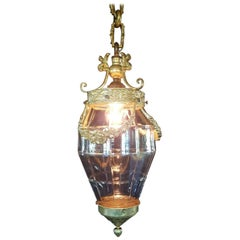 Antique Gilt Bronze Lantern with Molded Cut-Glass