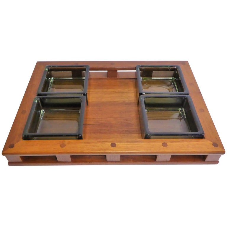 Early Jens Quistgaard Teak Serving Tray with Glass Inserts For Sale