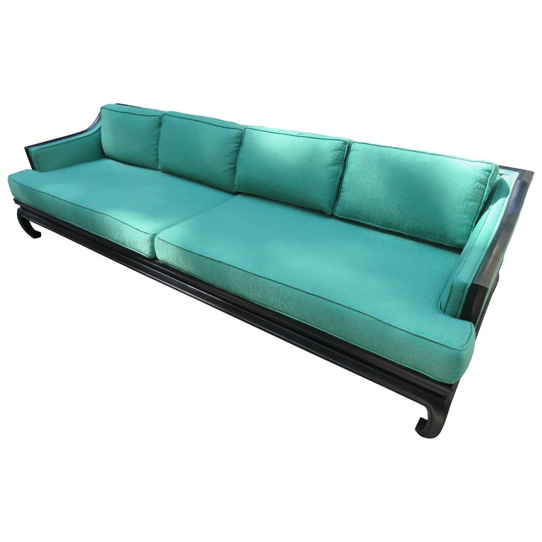 Gorgeous Asian Modern Michael Taylor style Chinoiserie Sofa Midcentury