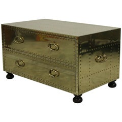 Vintage Brass Two-Drawer Chest Coffee Table Made in Spain by Sarreid