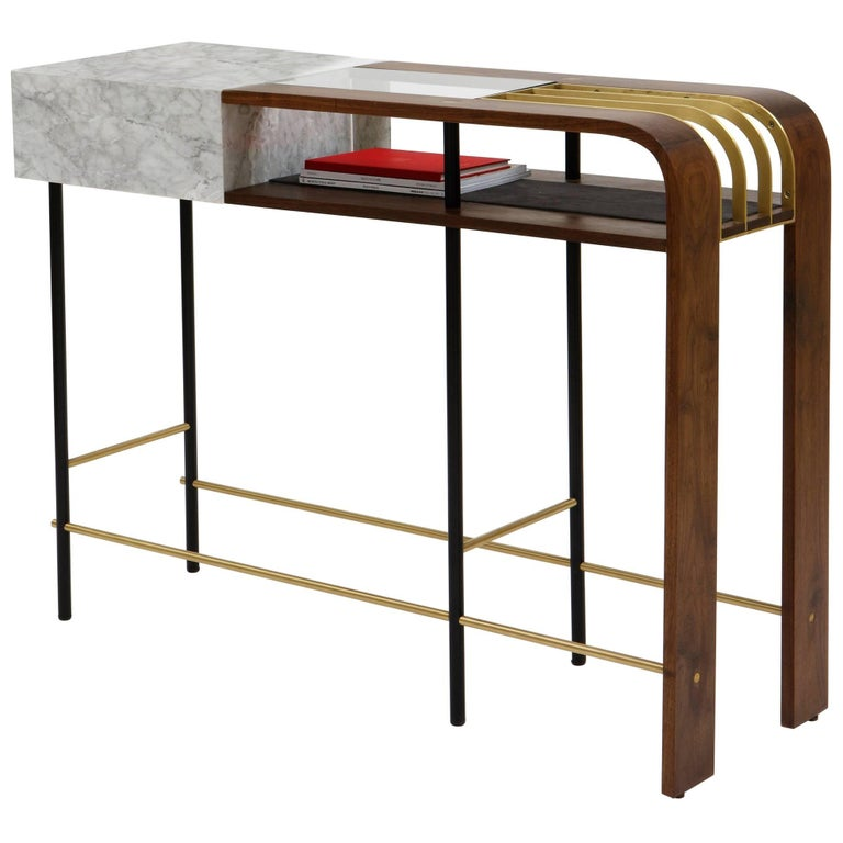Frame Console, Contemporary Handmade Brass and Marble Console For Sale