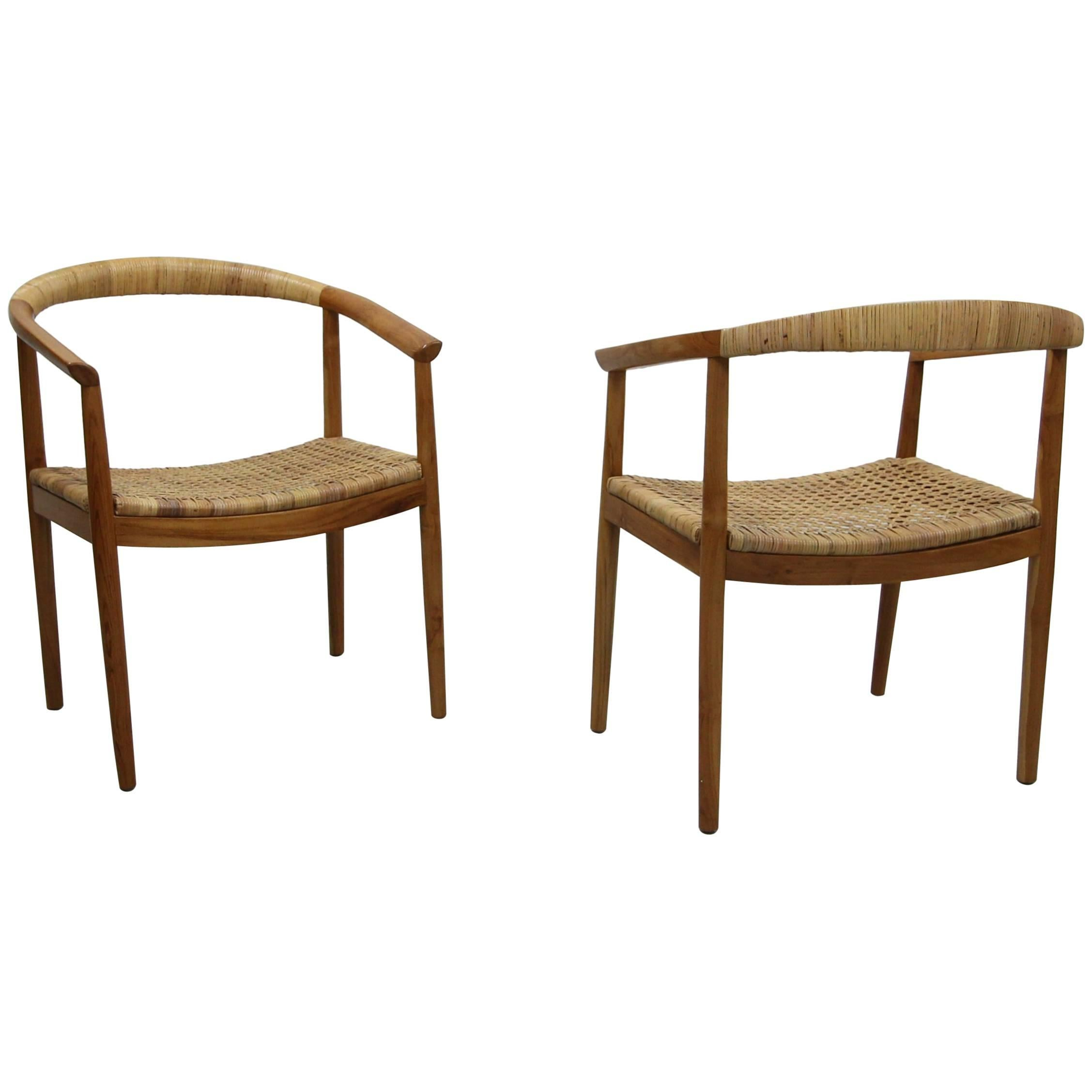 Vintage Pair Of Oversized Danish Style Teak And Cane Round Back Side Chairs  For Sale