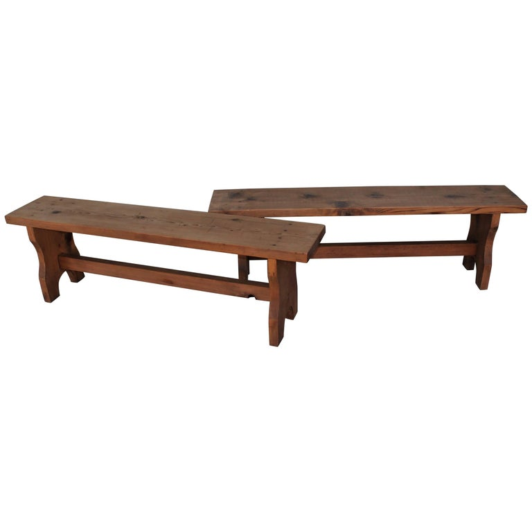 Farm House Amish Made Benches, Pair For Sale