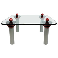 Ettore Sottsass Memphis Style Glass Coffee Table Postmodern