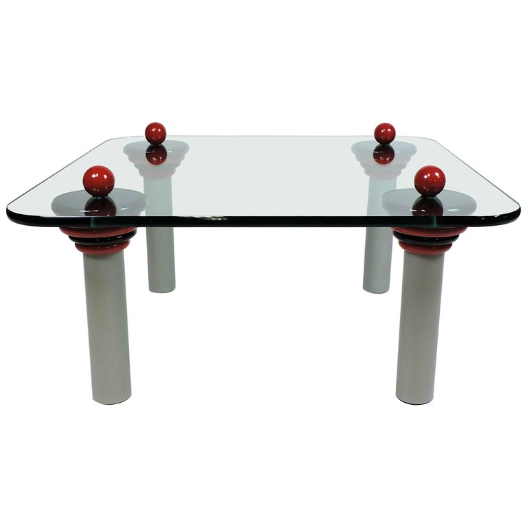 Ettore Sottsass Memphis Style Glass Coffee Table Postmodern For Sale - Post modern coffee table