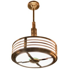 Modernest Art Deco Stepped Copper Bronze Theater Chandelier