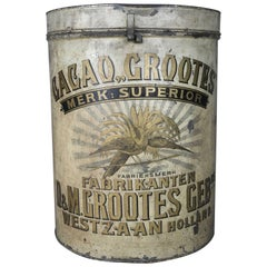 Large Antique German Chocolate Gilt Decorated Cocao Grootes Advertising Tin