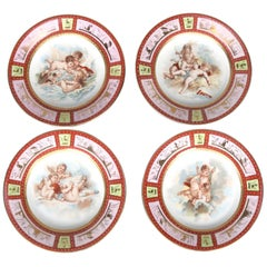 Four Antique Royal Vienna Classical Hand-Painted and Gilt Porcelain Plates